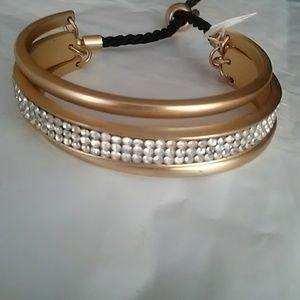Bracelet Crystal Matte GoldTone 3 Tier New 1/2 Tag